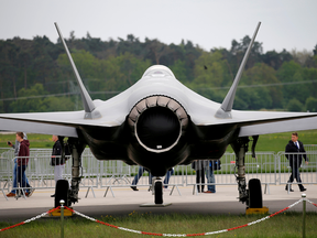 A Lockheed Martin F-35 jet on display at the ILA Air Show in Berlin, Germany, April 25, 2018.
