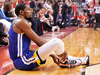 Golden State Warrior Kevin Durant sits on the court after re-injuring his leg during Game 5 against the Toronto Raptors.