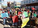 Participants take part in the Sisters in Spirit march in downtown Sudbury, Ont. on Thursday October 4, 2018. The event was held to remember and honour missing and murdered Indigenous women and girls.