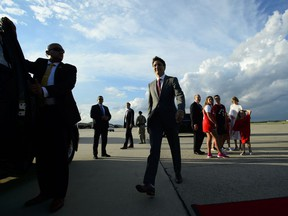Prime Minister Justin Trudeau arrives at Joint Base Andrews, Maryland on Wednesday, June 19, 2019.