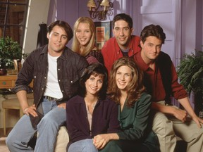 Clockwise from left — Matt Le Blanc as Joey, Lisa Kudrow as Pheobe, David Schwimmer as Ross, Matthew Perry as Chandler, Jennifer Aniston as Rachel and Courtney Cox Arquette as Monica, in Friends.