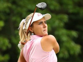 Lexi Thompson watches her drive on the second hole during round two of the Dow Great Lakes Bay Invitational at Midland Country Club on July 18, 2019 in Midland, Michigan.