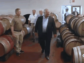 Doug Ford tours the Pelee Island Winery in an image from a video released just weeks after the winery's owner donated $1,000 to the Ontario Progressive Conservatives.