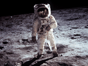 Apollo 11 U.S. astronaut Buzz Aldrin standing on the Moon, July 20, 1969.