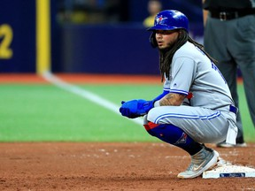 Freddy Galvis #16 of the Toronto Blue Jays looks on in the ninth inning during a game against the Tampa Bay Rays at Tropicana Field on Aug. 05, 2019 in St Petersburg, Florida.