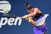Canadian Bianca Andreescu returns a shot against Katie Volynets of the United States on day two of the 2019 US Open on Aug. 27, 2019