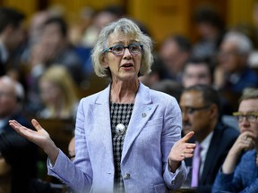 President of the Treasury Board and Minister of Digital Government Joyce Murray rises during Question Period in the House of Commons on Parliament Hill in Ottawa on Tuesday, June 4, 2019.