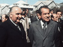 French president Georges Pompidou, left, with U.S. President Richard Nixon before a summit in Reykjavik, Iceland in May 1973.