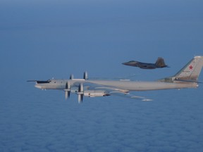 Two F-22 and two CF-18 fighter aircraft supported by an E-3 Sentry, a KC-135 Stratotanker and a C-130 Tanker from the NORAD positively identified and intercepted two Tu-95 Bear bombers in the Alaskan and Canadian ADIZ on Aug. 8, 2019.