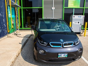 Electric vehicle (EV) charging stations at Red River College's Notre Dame Campus in Winnipeg.