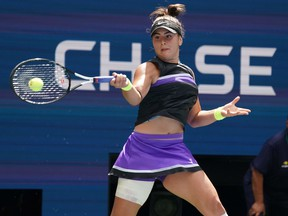 Bianca Andreescu from Canada plays against Caroline Wozniacki  from Denmark during their Round Three Women's Singles match at the 2019 US Open at the USTA Billie Jean King National Tennis Center in New York on August 31, 2019. - Andreescu advanced to the fourth round of the US Open by Wozniacki 6-4, 6-4.