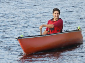 Federal Liberal leader Justin Trudeau canoes during a campaign stop at the Lake Laurentian Conservation Area in Sudbury, Ont. on Thursday September 26, 2019.