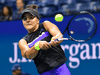 Bianca Andreescu of Canada hits to Elise Mertens of Belgium in their quarterfinal match at the 2019 U.S. Open, Sept. 4, 2019.