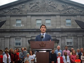 Canada's Prime Minister Justin Trudeau speaks during a news conference at Rideau Hall after asking Governor General Julie Payette to dissolve Parliament, and mark the start of a federal election campaign in Canada, in Ottawa, Ontario, Canada, September 11, 2019.