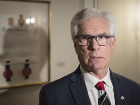 International Trade Minister Jim Carr speaks to the media following his address to the Canada-India Business Council to highlight Canada's trade diversification strategy in Toronto on Wednesday, June 26, 2019.