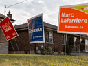 Candidate signs from the 2015 federal election.