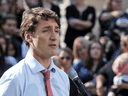 Prime Minister Justin Trudeau speaks regarding photos and video that have surfaced in which he is wearing blackface, during an campaign stop in Winnipeg, Sept. 19, 2019.