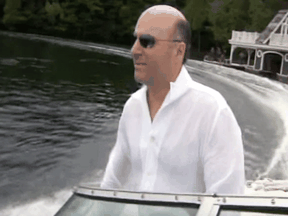 A video grab of Kevin O'Leary in a boat on Lake Joseph, Ontario.