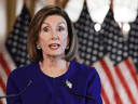U.S. House Speaker Nancy Pelosi announces a formal impeachment inquiry after allegations that President Donald Trump sought to pressure Ukraine's president to investigate leading Democratic presidential contender Joe Biden and his son, Sept 24, 2019.