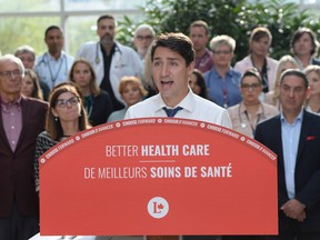 Leader of the Liberal Party of Canada, Justin Trudeau, makes a health care policy announcement in Hamilton, Ontario on Monday Sept. 23, 2019.