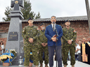 Roman Waschuk, Canada's Ambassador to Ukraine, along with members of the Canadian Forces honour members of the Organization of Ukrainian Nationalists and the Ukrainian Insurgent Army.