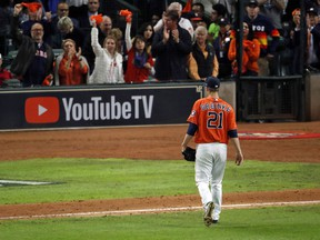 Zack Greinke of the Houston Astros is taken out of the game against the Washington Nationals during the seventh inning in Game Seven of the 2019 World Series on October 30, 2019 in Houston.