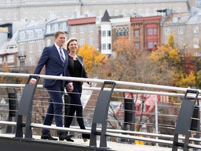 Conservative Leader Andrew Scheer and his wife Jill campaign in Quebec City on Oct. 15, 2019.