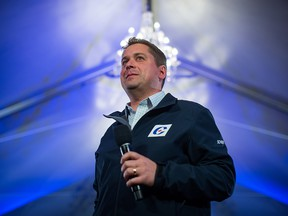 Conservative Leader Andrew Scheer appears at a rally in Langley, B.C., on Oct. 11, 2019.