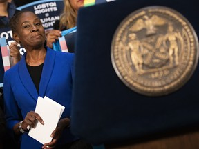 Chirlane McCray, the wife of New York City Mayor Bill de Blasio, waits to speak at a rally in support of LGBTQ rights at New York City Hall on Oct. 8, 2019.