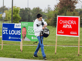 Election signs in Ottawa's Nepean riding. Since 1921 only twice has a party won a majority of the country without winning a majority in Ontario.