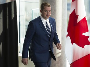 Conservative leader Andrew Scheer arrives for a morning announcement in Toronto Tuesday, October 1, 2019.