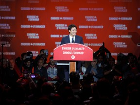 Liberal leader and Prime Minister Justin Trudeau delivers his victory speech at his election night headquarters on October 21, 2019 in Montreal.
