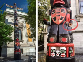 A totem pole outside the Montreal Museum of Fine Arts which had a hand stolen off it is shown in a pair of handout photos. The museum says a hand taken from a totem pole last month was quietly returned to the museum overnight Tuesday.THE CANADIAN PRESS/HO-Montreal Museum of Fine Arts MANDATORY CREDIT