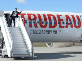 Liberal leader Justin Trudeau boards one of his campaign planes in Ottawa on Sept. 29, 2019.