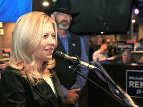 Conservative candidate Michelle Rempel is all smiles at her election headquarters at the Canadian Brewhouse in Harvest Hills on election night. Rempel was re-elected in Calgary Nose Hill on Monday, Oct. 21, 2019.