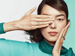 A Tiffany & Co. ad for diamond rings echoes eye patch protests in Hong Kong, where a woman was hit in the eye by a pellet on Aug. 11. The jewellery retailer posted and then quickly deleted the ad on MOnday.