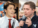 Liberal Leader Justin Trudeau and Conservative Leader Andrew Scheer.