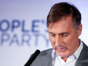 People's Party of Canada leader Maxime Bernier reacts after the announcement of federal election results in Beauceville, Quebec, Canada October 21, 2019.