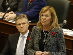 Ontario Deputy Premier Christine Elliott  speaks on the first day of the Fall session at the Queen's Park Legislature on Monday October 28, 2019.