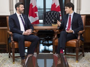 Prime Minister Justin Trudeau meets with the Mayor of Edmonton, Don Iveson in West block on Parliament Hill in Ottawa, Friday November 29, 2019.