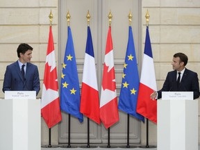 Prime Minister Justin Trudeau takes part in a joint media availability with French President Emmanuel Macron at the Elysee Palace in Paris on June 7, 2019. There are fears a brewing battle over the future of NATO could have major implications for Canada, which has relied on the military alliance as a cornerstone of its security, protection and influence in the world for decades. Prime Minister Justin Trudeau is expected to travel to London next month, where recent comments by French President Emmanuel Macron questioning the viability of NATO are threatening to overshadow a celebration of the alliance's 70th birthday.