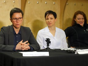 L-R, Calgary Inferno General Manager, Kristen Hagg, Assistant Coach Beck McGee and Inferno player and representative on the CWHL Players Association, Dakota Woodworth held a press conference to answer media questions about the Canadian Women Hockey League's announcement to discontinue operations effective May 1, 2019 at Winsport in Calgary on Monday, April 1, 2019.