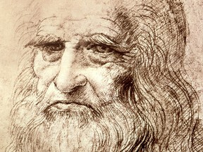 Details from a self portrait by Leonardo da Vinci in 1512, seven years before his death.