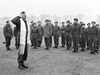 Captain Samuel Cass, a rabbi, conducts the first worship service celebrated on German territory by Jewish personnel of the 1st Canadian Army near Cleve, Germany, March 18, 1945. During the Second World War 16,883 Canadian Jews enlisted, almost 40 per cent of the Jewish male population eligible for service.