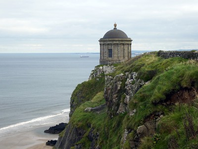 Mussenden Temple overlooks the beach and ocean.