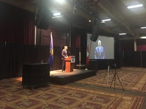 """In a speech delivered in Red Deer, Alta. at a """"Freedom Talk"""" conference about meeting the challenge of Alberta separatism, the leader of the People's Party of Canada and former Conservative leadership contender told Albertans their first choice should always be to """"fix Canada."""""""