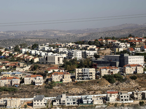 A picture taken from the Palestinian village of Kifl Hares shows the Israeli Jewish settlement of Revava in the West Bank, Nov. 19, 2019.