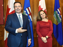 Deputy Prime Minister Chrystia Freeland, the new minister of intergovernmental affairs, meets with Alberta Premier Jason Kenney the Alberta Legislature in Edmonton, Nov. 25, 2019.