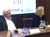 Former Liberal MP Bob Rae and former Conservative MP Lisa Raitt at a conference on populism in Toronto on Wednesday, Nov. 27, 2019.