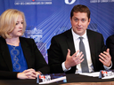 Conservative Party of Canada leader Andrew Scheer and MP Lisa Raitt during a shadow cabinet meeting in 2017.